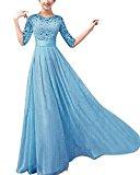 ZANZEA Women's Sexy Summer Chiffon Lace Formal Wedding Ball Evening Party Maxi Dress Blue US 14