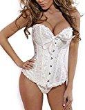 Beauty-You Women's Gothic Overbust Corset Lace Up Brocade Boned Basque Plus Size Lingerie White UK Size 16-18 3XL