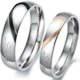 JewelryWe Matching Mens & Womens Heart Shape Stainless Steel