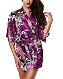 Women's Lingerie Peacock and Blossoms Kimono Robe Sleepwear Gown-Short Style(Dark Purple/L)