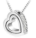 korpikus Metal Jewelled Rhinestone Double Hearts Necklace Pendant In Organza Bag - (Silver Hearts)