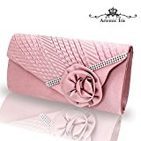 Artemis'Iris Lovely Envelope Pink Purse Bag with Strap, Satin Floral Pleated Ladies Clutch Bags Classy Diamantes Adorned Evening Clutches For Party Prom Wedding Dating Ceremony