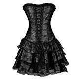 Topmelon Womens Corset Fashion Gothic Boned Retro Corset Bustier Skirt