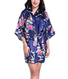 Women Short Kimono Robes Bridesmaid Peacock and Blossoms Stain Silk Nightwear Navy