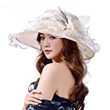 O&N Women Organza Hat Summer Hat for Wedding Hats Wide Brim Sun hat Ascot Race Derby Hat Beige