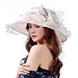 O&N Women Organza Hat Summer Hat for Wedding Hats Wide Brim Sun hat Ascot Race Derby Hat Beige