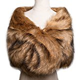 Poplarboy Women's Party Evening Wedding Fur Wraps and Shawls for Women Bridal Fur Stole Brown