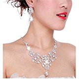 Women's Wedding Jewellery Sets Fashion Alloy Rhinestone Crystal Bride Earrings & Pendant Necklace (white)