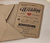 Ginger Ray Wedding Brown Kraft Wedding Invitations x 10 - Vintage Affair