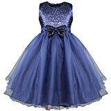 iEFiEL Flower Girls' Dresses Sequins Bow Sleeveless Party Wedding Formal Bridesmaid Dress Navy Blue 7-8 Years