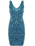 Sleeveless Cocktail Party Dress-Lmeison Women Sexy V Neck Sequin Mini Club Dress(Lake Blue)