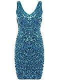 Sleeveless Cocktail Party Dress-Lmeison Women Sexy V Neck Sequin Mini Club Dress(Lake Blue)
