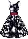 MIUSOL Women's Christmas Vintage 1940s Sleeveless Polka Dot Flared A-line Swing Tea Blue Dress XX-Large/UK 16