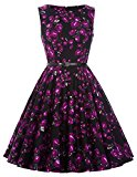 Women's Rockabilly Hepburn Style Full Skirt Dresses Party Wedding Dress(28,M)