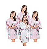 FETE FABULOUS Set of 4- Satin Peacock Kimono Robes, Hen Party Getting Ready Robes, OSFM, Wedding Dressing Gowns for Bride/Bridesmaids (Pink)