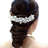 Fulltime(TM) Bridal Hair Jewelry Hair White Pearl Crystal Headdress By Hand Wedding Dress Accessories