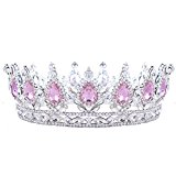 HerZii Princess Rhinestone Crystal Crowns Wedding Tiaras Party Accessories Head Jewelry (Pink+Silver )