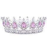 HerZii Princess Rhinestone Crystal Crowns Wedding Tiaras Party Accessories Head Jewelry (Pink+Silver )