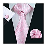Mens formal 100% Silk neck tie, pocket square cufflink set wedding (pink paisley)