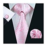 Mens formal 100% Silk neck tie, pocket square cufflink set wedding (pink paisley)