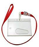 Yongshida Horizontal Card Holder Neck Strap Lanyard Color Red Clip Pack of 10
