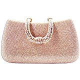 KAXIDY Elegant Womens Satin Rhinestone/Diamond Ladies Wedding Bridal Prom Handbag Evening Clutch Bag (Champagne)