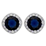 EVER FAITH® 925 Sterling Silver Cubic Zirconia Elegant Cushion Cut Halo Stud Earrings Blue Sapphire Color N07383-2