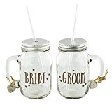 Bride and Groom Matching Set Of Mason Drinking Jars Wedding Gift