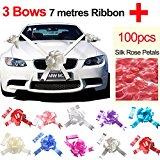 TtS Silver Wedding Car Ribbon + Red Silk Rose Petal (3 Bows 7 metres Ribbon )