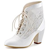 ElegantPark HC1559 Women Closed Toe Lace-up Ankle Boots High Heels Prom Lace Wedding Party Court Shoes White UK 5