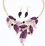 Platinum Plated Purple Clear Crystal Jewelry Set, Pendant Necklace, Earrings, Bridesmaid Jewelry