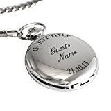 Personalised Silver Finish Pocket Watch, Chain and Box - FREE ENGRAVING - Perfect for Groom, Best Man, Father, Wedding Favour, Valentine's Day, Birthday