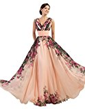 Yafex Floor-Length Celebrity Party Floral Dresses Pink 10