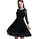 Clasichic Women Round Neck 3/4 Sleeve Pleated Lace Evening Cocktail Bridesmaid Dress (Medium, Black)