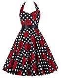 Yafex Women's Sexy Halterneck 50s Vintage Floral Swing Cocktail Dress XL,Color19