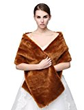 Favebridal Women's Faux Fur Shrugs Cape Stole Shawl for Wedding Dress Winter 17005 (One size, Brown)
