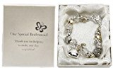 Personalised Our Special Bridesmaid Wedding Charm Bracelet Silver and Gold Engraved Gift