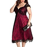 Cfanny Women's Elegant Lace Embellished Plus Size Cocktail Dress,Red,XL(UK 18-20)