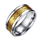 Contever® Stainless Steel Dragon Pattern Beveled Edges Celtic Rings Band Jewelry Comfort Fit Men For Anniversary/Engagement/Wedding Band Golden Color - Size 11#