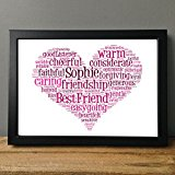Personalised Print Heart Gift Word Art Love Teacher Christmas Best Friend Wedding Bridesmaid Celebration Friends Birthday Wedding New Home & FREE FRAME