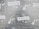 Congratulatons on Your Wedding Day Gift Wrapping Paper - Silver with Champagne Bottle - 2 x Sheets & 1 Matching Tag