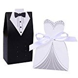 100 Pack Bride and Groom box, Gift Boxes for Wedding Tuxedo Dress Groom Bridal Wedding Bag, SUMERSHA Party Favor Boxes Ribbon Box Candy Box