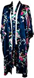 CC Collections Kimono dressing gown robe sexy lingerie night wear dress women lady bridesmaid hen night Japanese oriental peacock style luxurious silk satin rayon natural feel (Blue Navy)