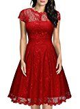 MIUSOL Women's Christmas Eve Elk Pattern 1950s Vintage Retro Full Lace Swing Red Dress (Large, Red)