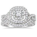 1 Carat Double Row Halo Princess Diamond Bridal Set in 10K White Gold