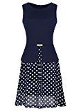 MIUSOL Women's Christmas Vintage 1940s Chiffon Contrast Polka Dot Sleeveless Swing Tea Blue Dress Large/UK 12