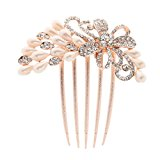 Women Comb Crystal Pearl Hairclip Vintage Hair Accessories Bridal Headdress
