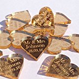 50 Small (2cm) Personalised Mr & Mrs Lucky Love Hearts Bridal Wedding Favours and Table Sprinkles / Confetti - Good luck charm - Acrylic - LittleShopOfWishes (Gold Mirror)