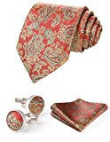 HISDERN Men's Paisley Wedding Silk Neck Tie and Pocket Square Cufflinks 3pcs Set One Size Orange / Gold