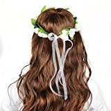 OFTEN Flower Wreath Headband Floral Crown Garland Halo with Floral Wrist Band for Wedding Festivals